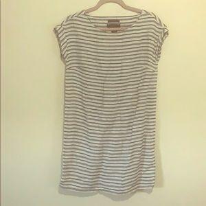 Tahari Linen Blue and White Striped Dress